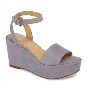NWT Splendid Felix Grey Lavender Suede Wedges 10